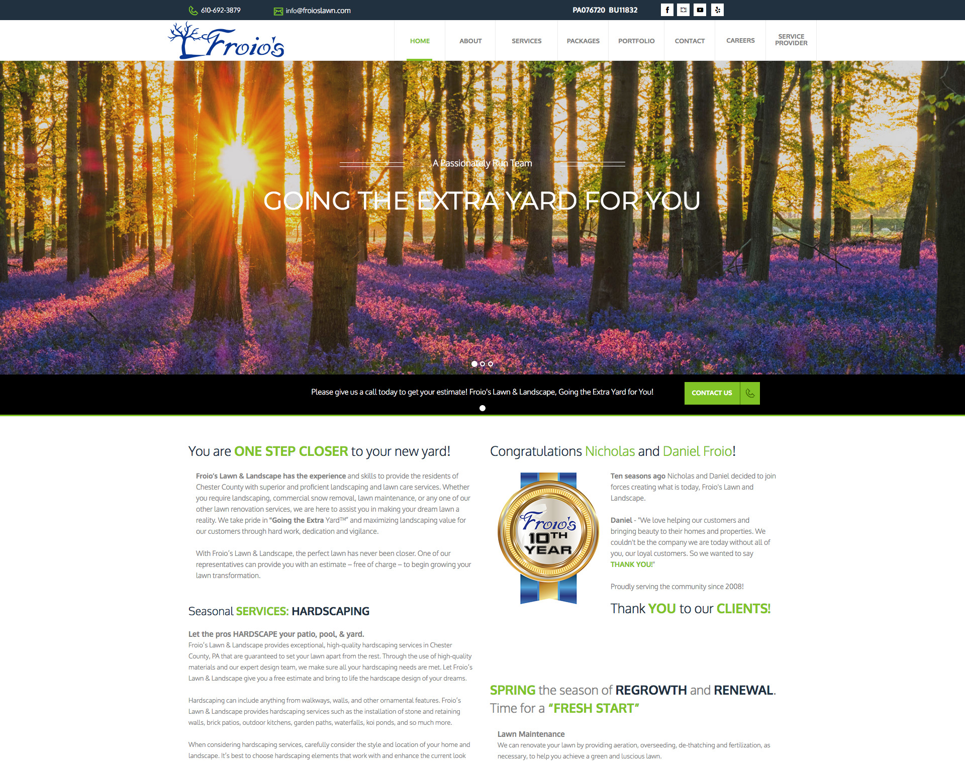 Froio's Lawn & Landscape Website Design Website Maintenance