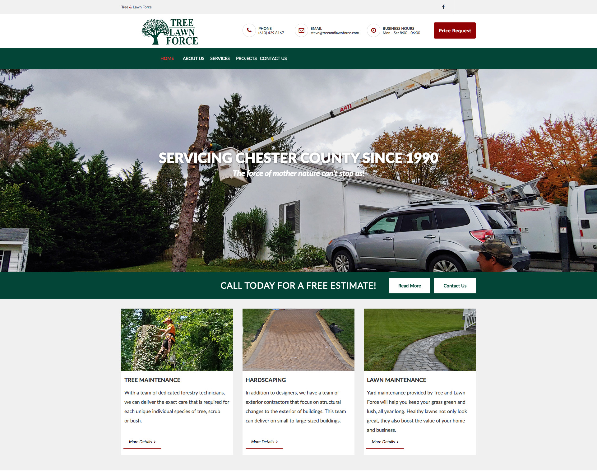 Tree & Lawn Force Website Design Website Maintenance
